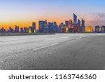 urban road asphalt pavement and ... | Shutterstock . vector #1163746360