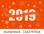 2019 happy new year card design.... | Shutterstock .eps vector #1163747026