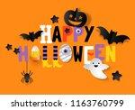happy halloween banner design... | Shutterstock .eps vector #1163760799