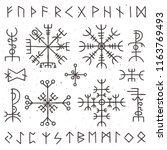 mystical viking runes. ancient... | Shutterstock .eps vector #1163769493
