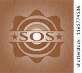 sos retro wooden emblem | Shutterstock .eps vector #1163774536