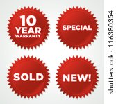 Vector Red Seals Stickers With...