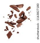 pieces of dark chocolate... | Shutterstock . vector #1163827180