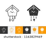 cuckoo clock black linear and... | Shutterstock .eps vector #1163829469