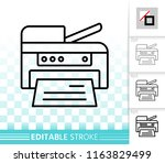 printer thin line icon. outline ... | Shutterstock .eps vector #1163829499