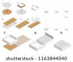 rigid magnet box template 3d... | Shutterstock .eps vector #1163844040