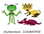 a set of unreal cartoon monsters | Shutterstock .eps vector #1163845930