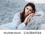 fashion portrait of beautiful... | Shutterstock . vector #1163864566