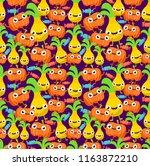 seamless cute monster pineapple ... | Shutterstock .eps vector #1163872210