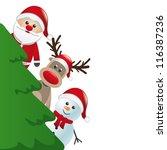 Santa Reindeer And Snowman...
