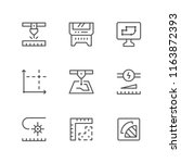 set line icons of laser cutting | Shutterstock .eps vector #1163872393
