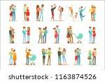 young and expecting parents... | Shutterstock .eps vector #1163874526