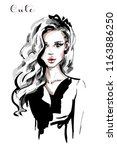 hand drawn beautiful young... | Shutterstock .eps vector #1163886250