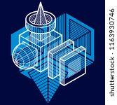 3d design  abstract vector... | Shutterstock .eps vector #1163930746