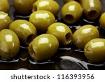 close up of fresh green olives... | Shutterstock . vector #116393956