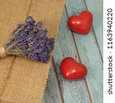 Two Ceramic Hearts  Lavender...