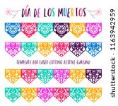 Stock vector mexican paper decorations papel picado vector design traditional fiesta banner inspired by 1163942959