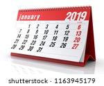 January 2019 Calendar. Isolate...