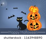 halloween background with witch ... | Shutterstock .eps vector #1163948890