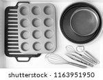 set of kitchenware in drawer ...   Shutterstock . vector #1163951950