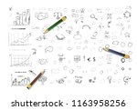 pencil sketches. hand drawn... | Shutterstock .eps vector #1163958256