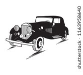 hand drawn retro car icon with... | Shutterstock .eps vector #1163958640