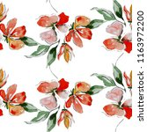 summer flowers seamless pattern ... | Shutterstock . vector #1163972200