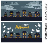 homes decorated for halloween... | Shutterstock .eps vector #1163973319