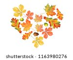 heart of colorful autumn leaves ... | Shutterstock .eps vector #1163980276