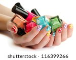 woman hands with nail polishes... | Shutterstock . vector #116399266