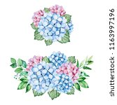 2 lovely bouquets with blue and ... | Shutterstock . vector #1163997196