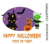happy halloween party... | Shutterstock .eps vector #1163999893