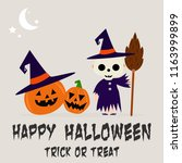happy halloween party... | Shutterstock .eps vector #1163999899