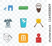 set of 9 transparent icons such ... | Shutterstock .eps vector #1164008809