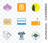 set of 9 transparent icons such ... | Shutterstock .eps vector #1164008860