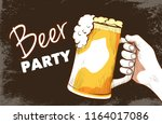beer party hand drawn banner.... | Shutterstock .eps vector #1164017086