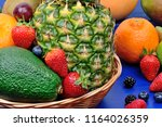 mix of colorful fresh fruits in ... | Shutterstock . vector #1164026359