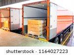 freight truck  pallet shipment  ... | Shutterstock . vector #1164027223