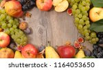 frame of apple  pear and grape | Shutterstock . vector #1164053650