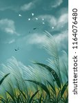 egret illustration background... | Shutterstock . vector #1164076480