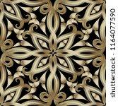 vintage gold 3d paisley vector... | Shutterstock .eps vector #1164077590