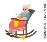 old woman in a rocking chair... | Shutterstock .eps vector #1164079186