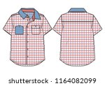 checkered short sleeved casual... | Shutterstock .eps vector #1164082099