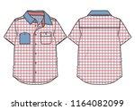 checkered short sleeved casual... | Shutterstock .eps vector #1164082099