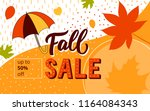 fall sale banner for promo ... | Shutterstock .eps vector #1164084343