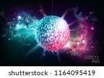 disco ball. disco ball on open... | Shutterstock .eps vector #1164095419
