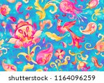 watercolor flores  nightingale... | Shutterstock . vector #1164096259