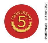 5 anniversary sign icon in...