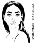 face of beautiful young woman... | Shutterstock .eps vector #1164100666