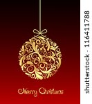 gold christmas ball on red... | Shutterstock .eps vector #116411788